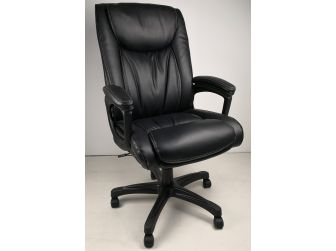 Soft Padded Executive Office Chair in Black Leather - CHA-CS2029E