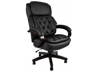 Large chesterfield style  wood frame Black Leather Executive Office Chair - CS-2027E