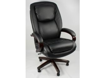 Large Luxury  wood frame Black Leather Executive Office Chair - CS-202A
