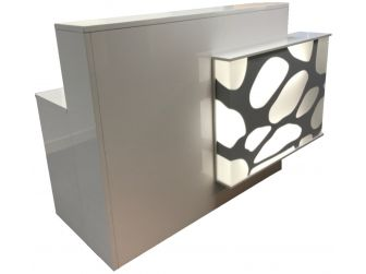 Light Up Reception Desk High Gloss White RE1302