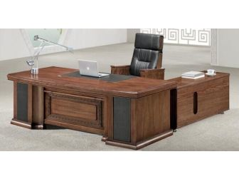 Large Walnut Executive Office Desk Real Wood Veneer - DSK-K3L241