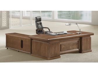 Large Walnut  Executive Office Desk Real Wood Veneer HER-DSK-K3Y221 2.2m