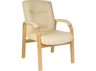 Cream Leather Executive Armchair - KNIGHTSBRIDGE-VS