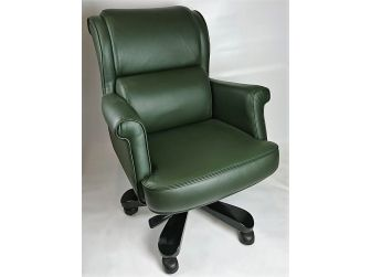 Luxury Executive Style Office Chair in Green Leather - Commander