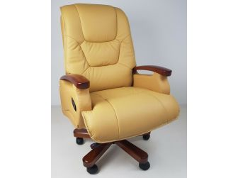 Luxury Beige Leather Executive Office Chair CHA-HB-A302