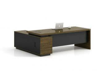Walnut and Grey Executive Corner Desk with Storage - DE1818