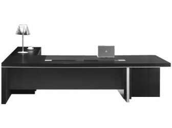 Stunning Executive Desk In Black Real Wood Veneer BYL-DSK-L3F-3200/3800mm