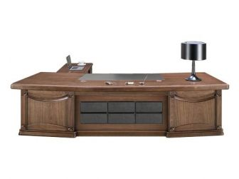 Substantial Large Executive Desk in Walnut Veneer Stylish Design EDE-DSK-K2K323-2000/3200/3600mm