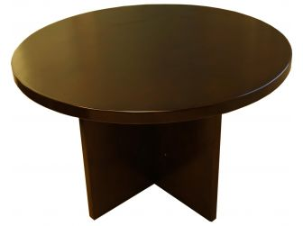 Small Round Meeting Table Wood Finish GRA-SM-RO-MET