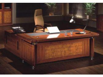 2.0m Medium Oak Executive Desk with Roll Top DES-1861