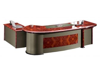 Luxury Executive Desk With Curved Design HAY-16841 Green leather design 2600mm