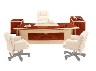 Italian Design Executive  Walnut Desk Curved & High Lacquer NAP-6850-2700mm available in various Leather colours
