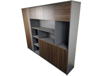 Quality Executive Office Bookcase Walnut with Grey ZGCI2204