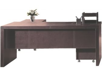 Leather Faced Executive 3 piece  Office Desk in brown  - T1233-1800 / 2000mm