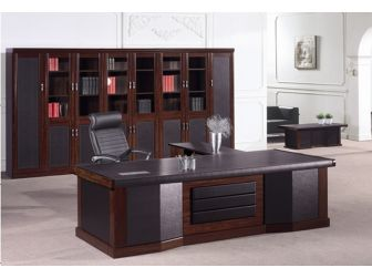 Large Walnut Executive Desk With Dark Brown Leather Panelling 2800mm wide - T1299