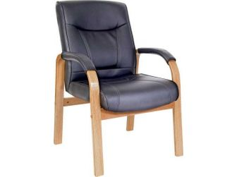 Light Wood Leather Executive Armchair KINGSTON-LW-VIS
