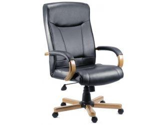 Light Oak & Black Leather Exec Chair KINGSTONE-LW