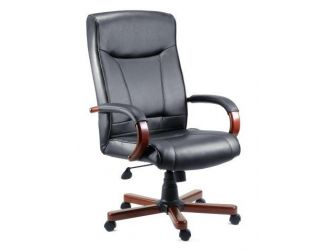 Black Leather & Mohogany Office Chair KINGSTONE