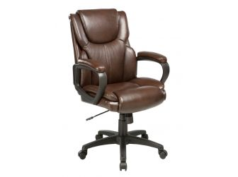 Soft Padded Low Back Executive Office Chair in Brown Leather - CHA-CS2121C