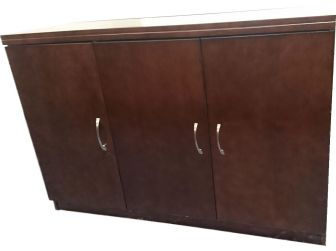 Walnut Real Wood Veneer 3 door office cupboard